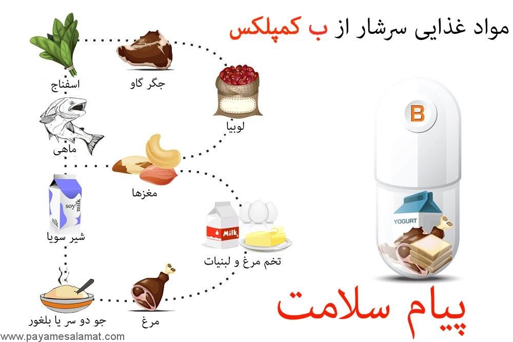 مواد غذایی دارای ویتامین ب کمپلکس B Complex