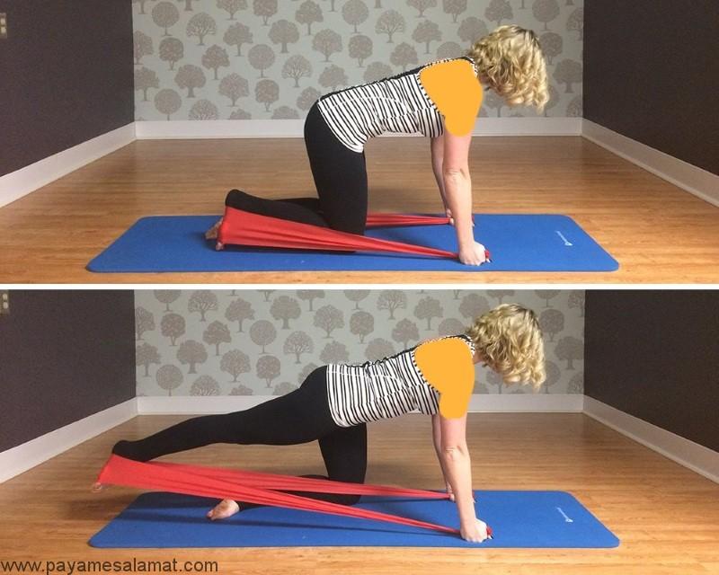 تمرین تقویت عضلات باسن با کش ورزشی
