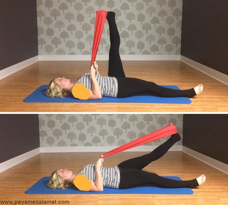 تمرین برای تقویت عضلات روی پا با کش ورشی