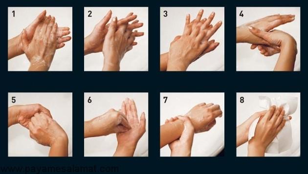 طریقه صحیح شستن دست ها