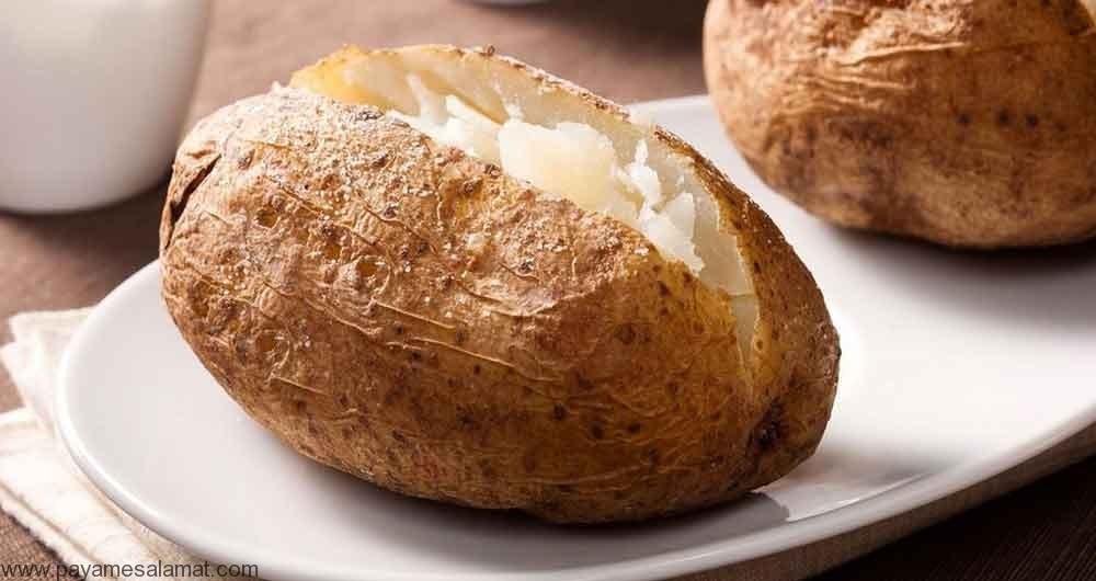 مقدار فیبر موجود در سیب زمینی پخته شده با پوست